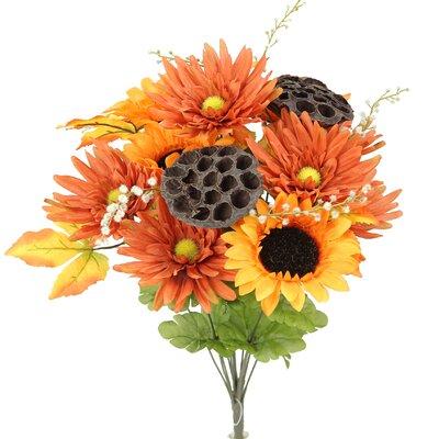 14 Stems Artificial Sunflower, Gerbera Daisy and Lotus Root Mixed Flowers Bush for Home Office, Wedding, Restaurant Decoration Arrangement Flower Color: Orange/Cinnamon