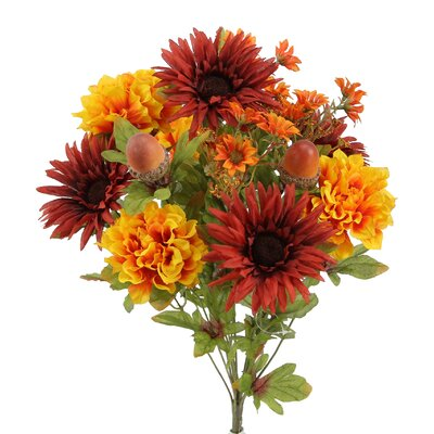 14 Stems Artificial Gerbera Daisy, Marigold and Acorn Mixed Flowers Bush for Home Office, Wedding, Restaurant Decoration Arrangement GPB6434-BG/GD