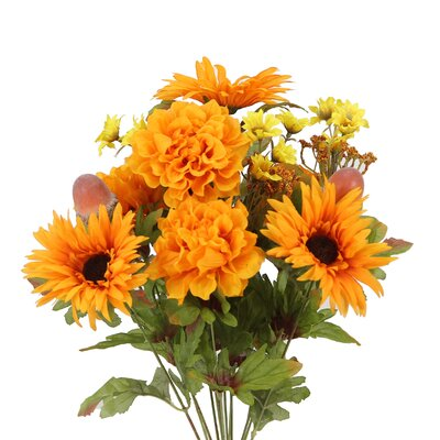 14 Stems Artificial Gerbera Daisy, Marigold and Acorn Mixed Flowers Bush for Home Office, Wedding, Restaurant Decoration Arrangement Flower Color: Tangerine
