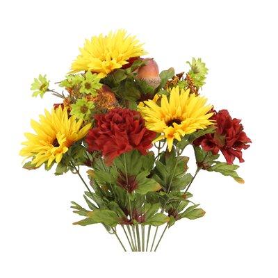 14 Stems Artificial Gerbera Daisy, Marigold and Acorn Mixed Flowers Bush for Home Office, Wedding, Restaurant Decoration Arrangement Flower Color: Yellow/Burgundy/Green