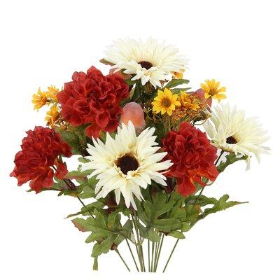 14 Stems Artificial Gerbera Daisy, Marigold and Acorn Mixed Flowers Bush for Home Office, Wedding, Restaurant Decoration Arrangement Flower Color: Cream/Rust Mix