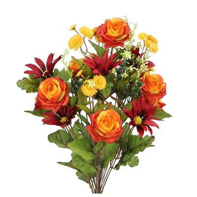 24 Stems Artificial Large Daisy and Rose Mixed Flowers Bush for Home Office, Wedding, Restaurant Decoration Arrangement Flower Color: Orange/Burgundy mix