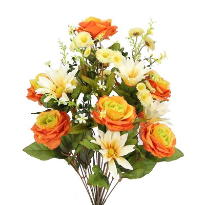 24 Stems Artificial Large Daisy and Rose Mixed Flowers Bush for Home Office, Wedding, Restaurant Decoration Arrangement Flower Color: Orangge/Cream Mix