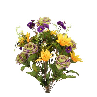 24 Stems Artificial Large Daisy and Rose Mixed Flowers Bush for Home Office, Wedding, Restaurant Decoration Arrangement Flower Color: Sage/Purple/Gold