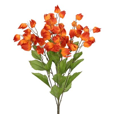 8 Stems Artificial Chinese Lantern Bush for Home Office, Wedding, Restaurant and Office Decoration Arrangement Flower Color: Orange