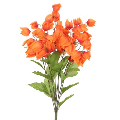 8 Stems Artificial Chinese Lantern Bush for Home Office, Wedding, Restaurant and Office Decoration Arrangement Flower Color: Tangerine