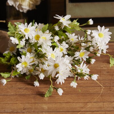 6 Stems Artificial Full Blooming Daisy Flowers, Flower Buds And Greenery Color: White