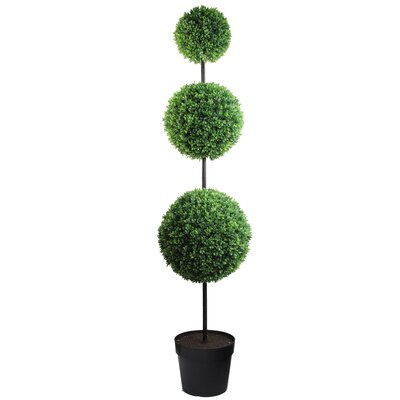 "66"" Tall Artificial Triple Ball Shaped Boxwood Topiary In Pot"
