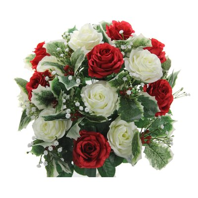 30 Stems Rose, Buds, Holly Leaves and Filler Floral Arrangement Flower Color: Red/Cream