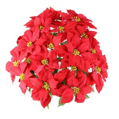 24 Stems Artificial Velvet Poinsettia Floral Arrangement Flower Color: Red
