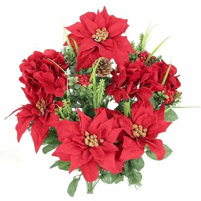 Christmas Themed Mixed Flower Arrangement with Poinsettias and Hydrangea. Flower Color: Red GPB5803-RED
