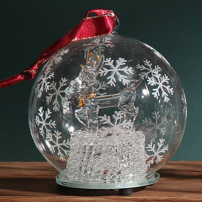 Light Up Glass Reindeer Ornament