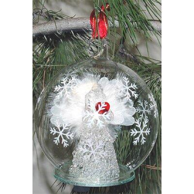 Light Up Fiber Optic White Angel Red Heart Ornament
