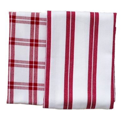 Checker Stripe 2 Piece ELS Cotton Kitchen Towel Set Color: Red