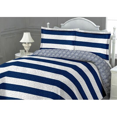 St. Tropez Quilt Set Color: Navy, Size: King