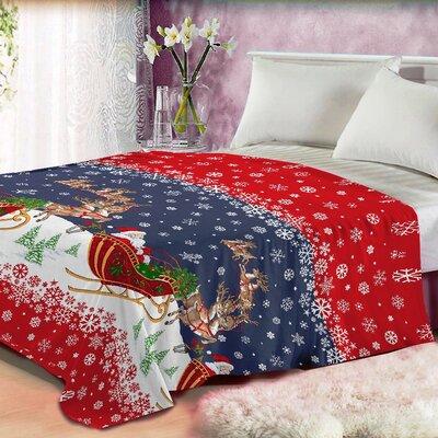 Santas Reindeer Plush Blanket Size: King
