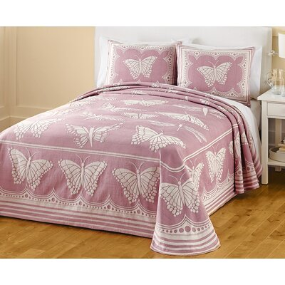 Butterfly Jacquard Bedspread Size: Queen