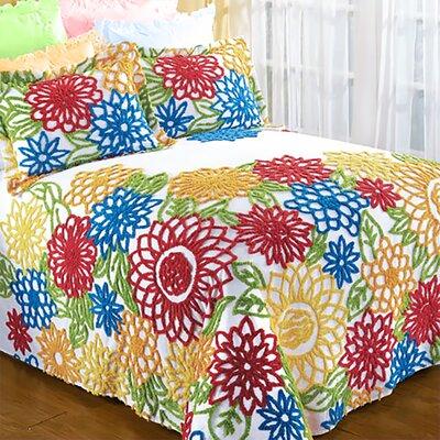 Summer Garden Chenille Bedspread Size: Queen