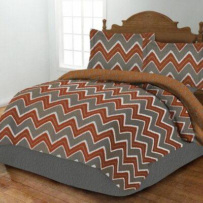 Zig Zag Quilt Set Size: King, Color: Orange
