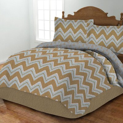 Zig Zag Quilt Set Color: Blue, Size: King