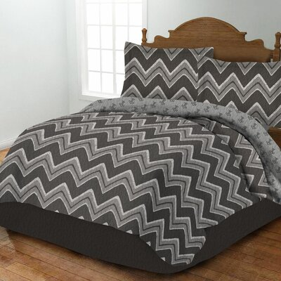 Zig Zag Quilt Set Size: Twin, Color: Gray