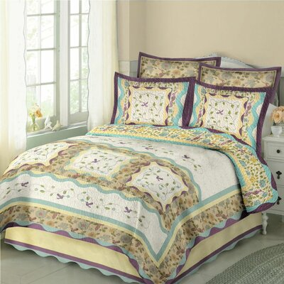 Hummingbirds Quilt Set Size: Full / Queen