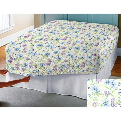 BedTite Marissa Floral 300 Thread Count Cotton Sheet Set Size: Full, Color: Blue