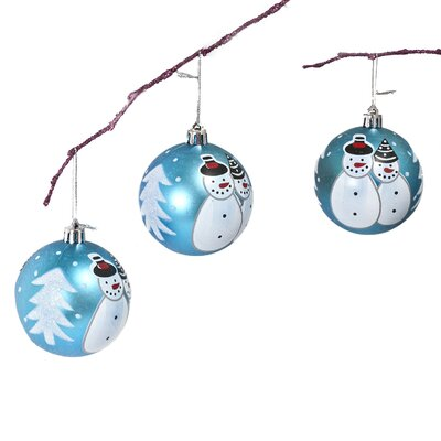 "2.75"" Shatterproof Handpainted Snowman Christmas Ball Ornament Color: Light Blue"
