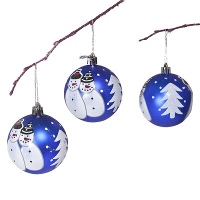 "2.75"" Shatterproof Handpainted Snowman Christmas Ball Ornament Color: Dark Blue"