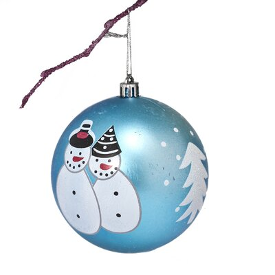 "3.9"" Shatterproof Handpainted Snowman Christmas Ball Ornament Color: Light Blue"