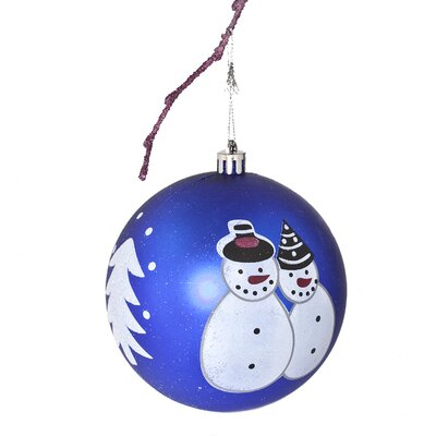 "3.9"" Shatterproof Handpainted Snowman Christmas Ball Ornament Color: Dark Blue"