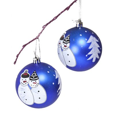 "3.14"" Shatterproof Handpainted Snowman Christmas Ball Ornament Color: Dark Blue"