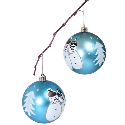"3.14"" Shatterproof Handpainted Snowman Christmas Ball Ornament Color: Light Blue"