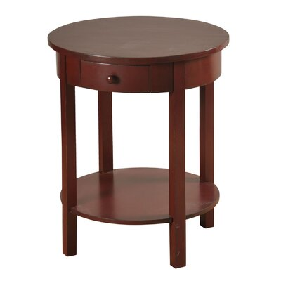 Beauford 1 Drawer End Table Color: Red