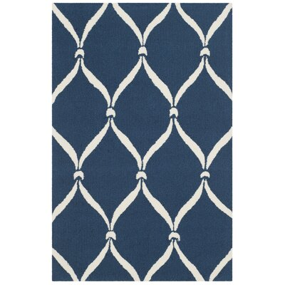 Millwood Navy & Ivory Area Rug Rug Size: Rectangle 3'6