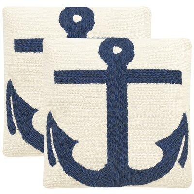 James Anchor Throw Pillow Color: White / Marine Blue