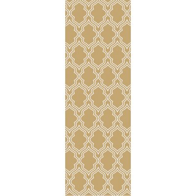 Frenchboro Hand Hooked Beige Area Rug Rug Size: Runner 26 x 8