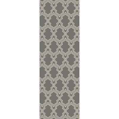 Frenchboro Hand-Hooked Gray Area Rug Rug Size: Runner 26 x 8