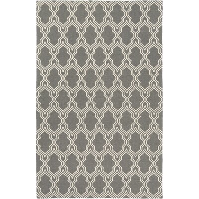 Frenchboro Hand-Hooked Gray Area Rug Rug Size: 5' x 7'6