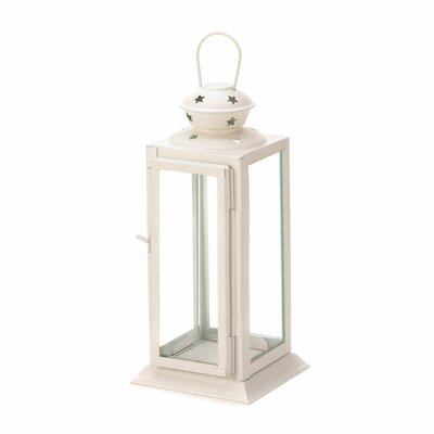 Tall Candle Glass/Metal Lantern Color: White