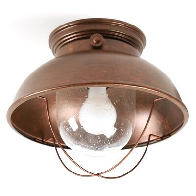 Everetts 1-Light Outdoor Flush Mount Finish: Weathered Copper