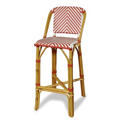Rum Point Bar Stool Upholstery: Red