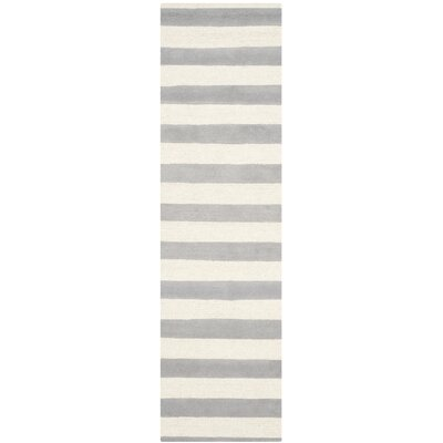 Leighton Hand-Tufted Gray/Ivory Area Rug Rug Size: Runner 2'6