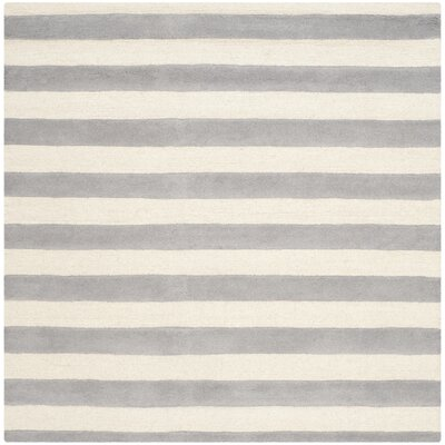 Leighton Hand-Tufted Gray/Ivory Area Rug Rug Size: Square 4