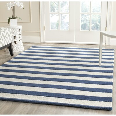 Leighton Hand-Tufted Navy/Ivory Area Rug Rug Size: Rectangle 3 x 5