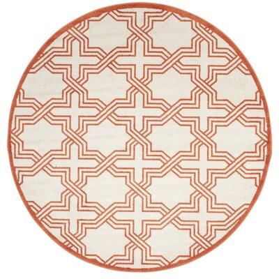 McArthur Ivory/Orange Area Rug Rug Size: Round 7
