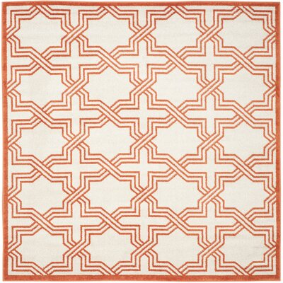 McArthur Ivory/Orange Area Rug Rug Size: Square 7