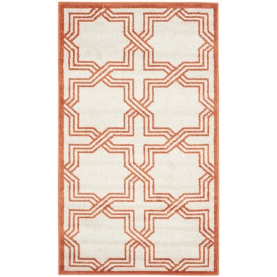 McArthur Ivory & Orange Area Rug Rug Size: 4 x 6