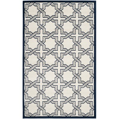 McArthur Ivory/Navy Indoor/Outdoor Area Rug Rug Size: Rectangle 6 x 9