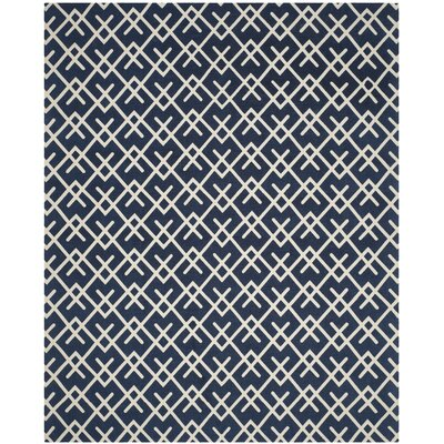 Branford Hand-Loomed Navy/Ivory Area Rug Rug Size: Rectangle 5 x 8